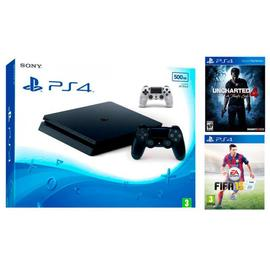 Consola PS4 500GB, Uncharted 4,  FIFA15 y 2 mandos