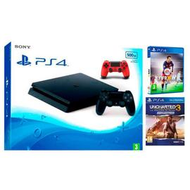 Consola PS4 500GB, Uncharted 3,  FIFA16 y 2 mandos